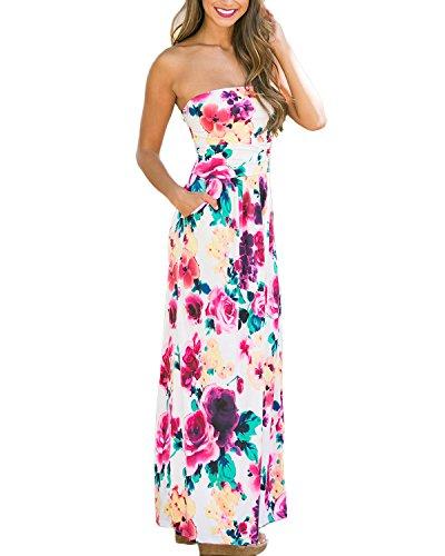 Auxo Mujeres Vestidos Largos Playa Verano Faldas Boho Beach con Flores Camisas sin Hombro Floral
