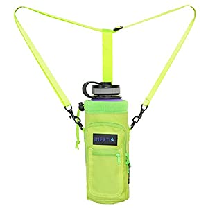 Inertia Gear Water Bottle Holder for Hydro Flask 40 oz Carrier w/ Pockets worn as a Sling or Backpack for (Bottle Not Included) - Lime Green