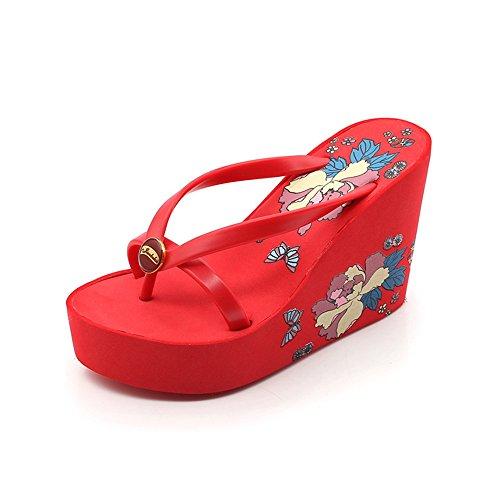 Color Talon Plage Chaussures 3EU Flip Red Size Blue Femmes Tongs Wedge Platform Flops Sandales 37 1 XnRxzS