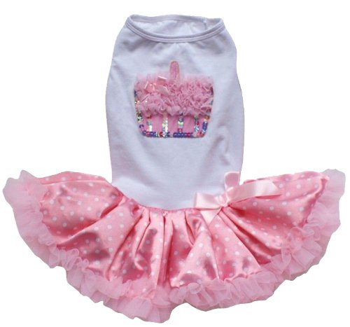 (PAWPATU Pawpatu White and Pink Ruffle Cupcake Dress for 8-12 pound Dogs, White/Pink)