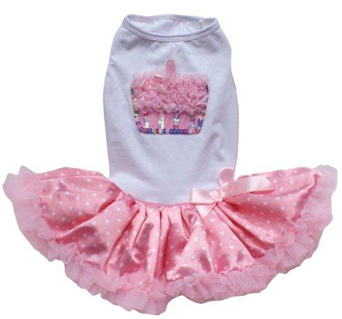 PAWPATU Pawpatu White and Pink Ruffle Cupcake Dress for 8-12 pound Dogs, White/Pink