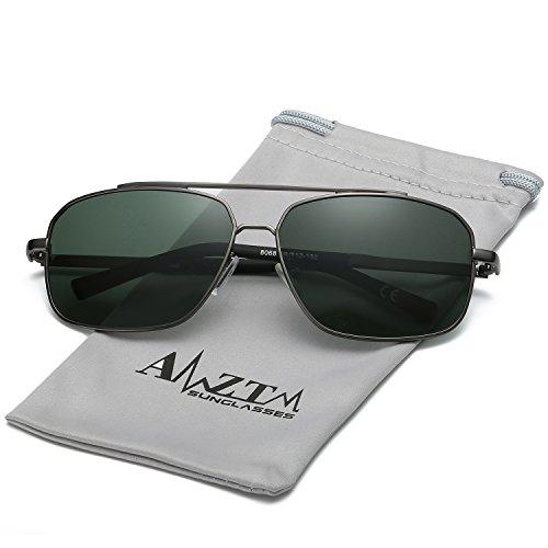 Gafas Rectangulaire Polarisées Conducción Lentes HD Metal UV400 Hombre Clásico Marco Protección Pescar Doble Retro 100 Aviator Sol Puente AMZTM Gafas De 1TpzqEx