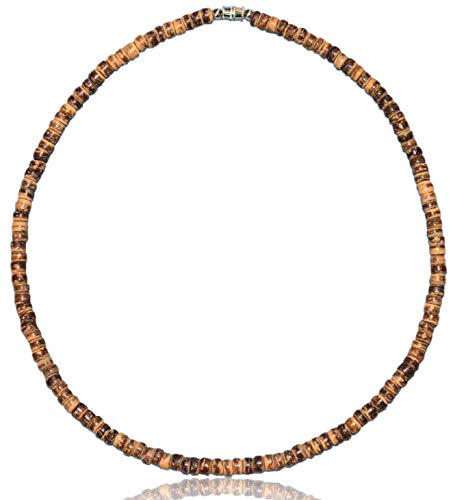 """Native Treasure - 15 inch Size Small Brown Tiger Coco Shell Wood Bead Surfer Necklace or Bracelet - 5mm (3/16"""")"""