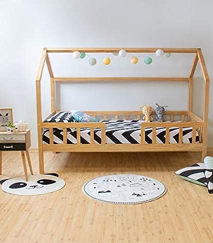 MUEMUE Cama Infantil Casita Montessori Casita con Barandilla Pino