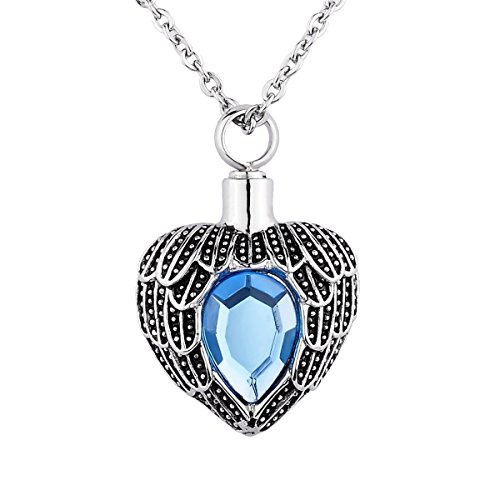 (Valyria Angel Wing Birthstone Memorial Urn Necklace Stainless Steel Cremation Jewelry,Blue(March))