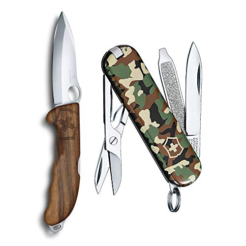 Victorinox Swiss Army Hunter Pro M Folding Knife with Pouch, Lanyard Hole and Classic SD Pocket Knife Bundle (2 Items)