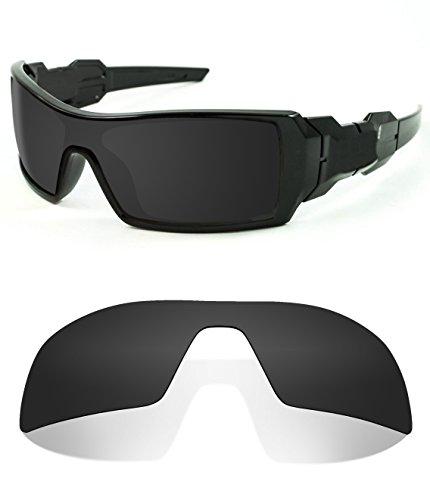 Littlebird4 1.5mm Polarized Replacement Lenses for Oakley Oil Rig Sunglasses (Dark Black)