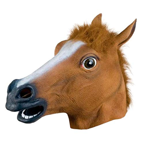 Costume Party Animal Head Mask Horse Head Mask Latex Animal Costume Prop Gangnam Style Halloween (Brown, Free Size)