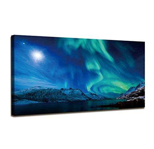 Wall Art for Living Room Aurora Scenery Landscape Painting Bedroom Wall Decor Canvas Wall Art Large Modern Framed Wall Art Ready to Hang Canvas Paintings for Home Office Decorations 24 x 48 Inch