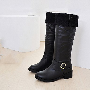 UK5 Fashion CN38 Boots amp;Amp; US7 Winter Toe Round Shoes Buckle Career Women'S 5 Boots RTRY Brown Office 5 For Yellow Dress Flat Pu Black EU38 Fall Heel Comfort anY4BqpW