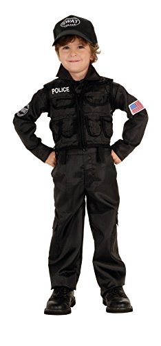 [UHC Baby Boy's Uniform Policeman Swat Toddler Fancy Dress Halloween Costume, 2T-4T] (Swat Costumes Kid)