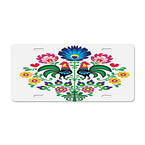 (Polish Embroidery with Roosters Garden Happy Fashion Celebration Spring Slav Poland Image Car Licence Plate Covers Holders with Chrome Screw Caps for US Vehicles)
