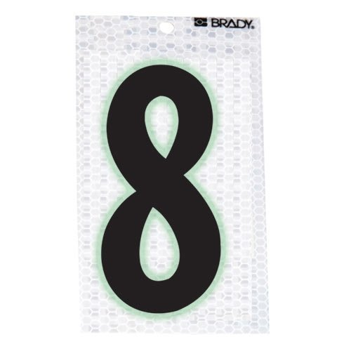 Brady 3020-8, 52319 Glow-In-The-Dark/Ultra Reflective Number - 8, 15 Packs of 10 pcs