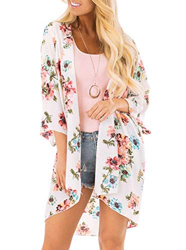 Women's Floral Kimono Cardigan Summer Loose Shawl Chiffon Beach Blouse Cover up XX-Large d-White 3