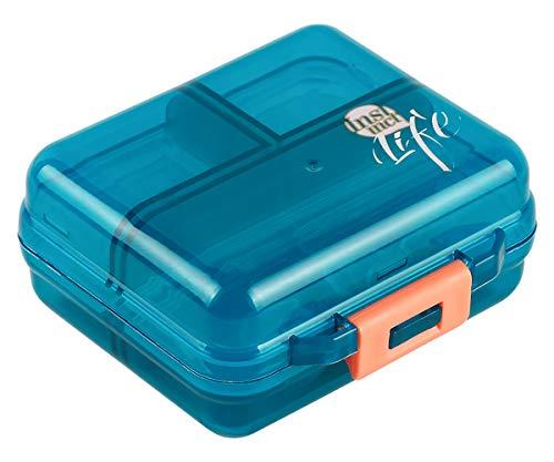 Bidear Pill Case Small Travel Vitamin Tablet Organizer Fish Oil Container Box for Purse Pocket, 7 Compartments (Green) from Bidear