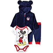 Disney Baby Boys' Mickey Mouse 3 Piece Hoodie, Bodysuit Or T-Shirt, Pant Set, Medieval Blue, 6-9 Months