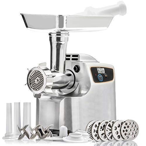 (STX International Magnum 1800W Electric Meat Grinder (Patented Air Cooled) - 3 Stainless Blades, 5 Grinding Plates, 1 Beaner Sausage Stuffing Plate, Kubbe Attachment and 3 Sizes of Sausage Tubes)