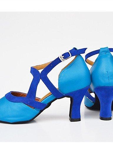 ShangYi Chaussures de danse(Noir / Bleu) -Personnalisables-Talon Aiguille-Satin-Latine / Moderne Black