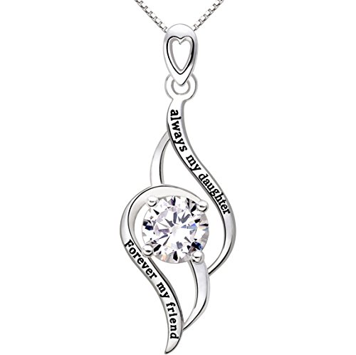 ALOV Always My Daughter Forever My Friend Jewelry Silver Cubic Zirconia Love Pendant Necklace ()