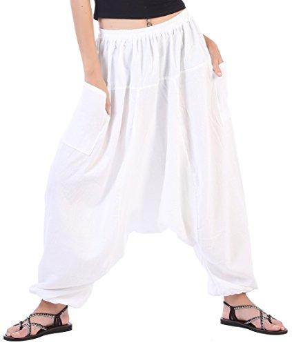 CandyHusky's Men Women 100% Cotton Baggy Boho Yoga Harem Pants (White) one size fits ()