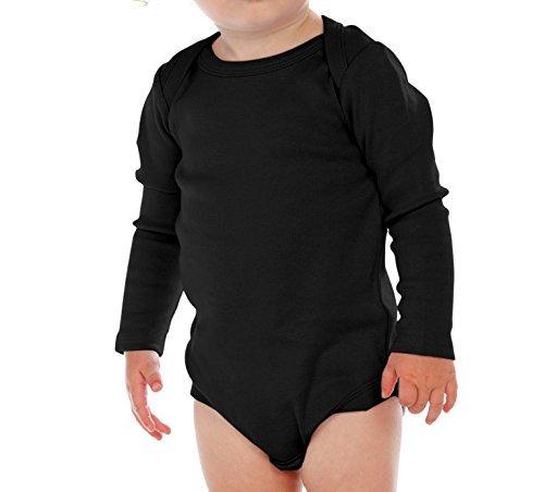 Kavio! Unisex Infants Lap Shoulder Long Sleeve Onesie Black 24M