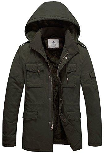 WenVen Men's Winter Windbreaker Thicken Jacket(A-Army Green,S) (Zara Parka Jacket Women)
