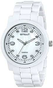 Sprout Women's ST5008MPWT  Diamond Dial White Corn Resin Bracelet Watch