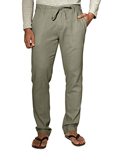 - Match Men's Slim Tapered Linen Casual Trouser (34, 8059 R-Green)