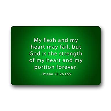 Christian Bible Verse Doormat My Flesh And My Heart May Failbut