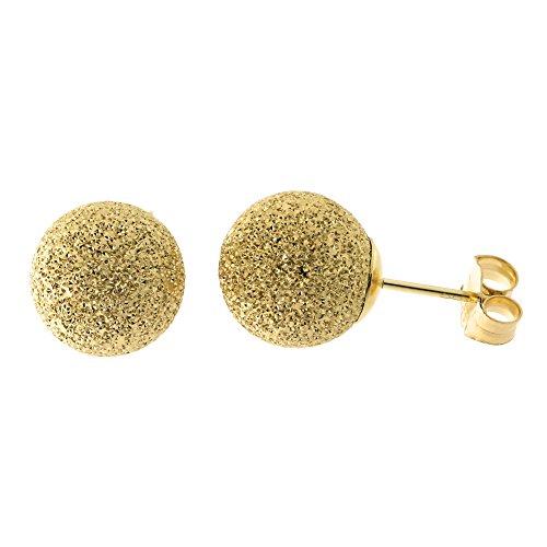 14k Yellow Gold Laser Cut Ball Stud Earrings, 9mm