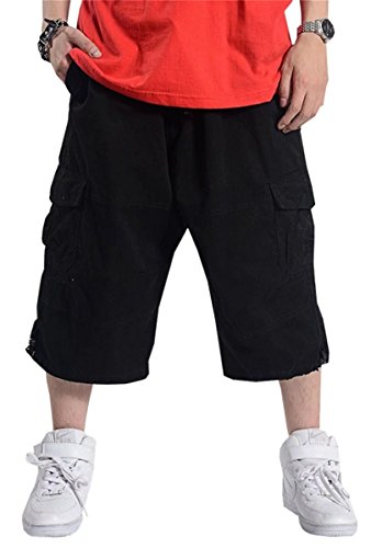 Mioubeila Mens Cargo Shorts Summer Solid Multi-Pocket Cropped Pants Black, Tag 50 = US 48 ()