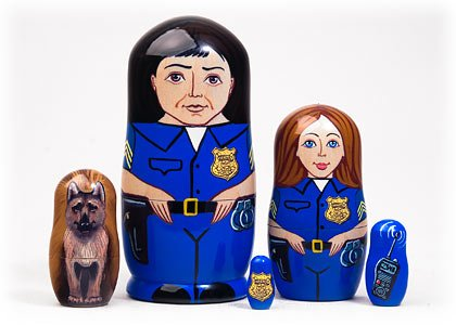Made in Russia Police Nesting Doll 5pc./5'' aka Boys in Blue Professional Collectible Babushka Russian Matryoshka Doll top quality 100% Guaranteed! by Golden Cockerel (Image #1)
