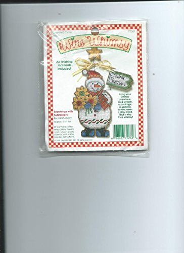 SNOWMAN WITH SUNFLOWERS--WIRE WHIMSY COUNTED CROSS STITCH KIT-NIP
