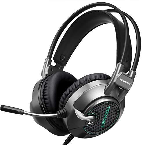 🥇 TECKNET Auriculares Gaming con Micrófono Cascos Gaming Sonido Envolvente Virtual 7.1