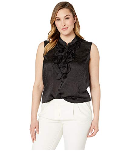 (Tahari by ASL Women's Plus Size Sleeveless Polka Dot Double Ruffle Blouse Black/White 3X)
