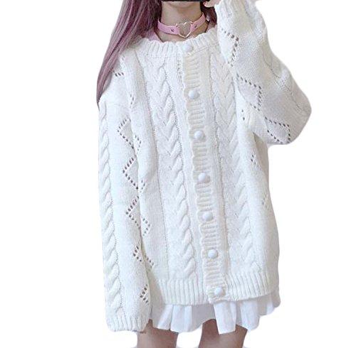 Feileiレディース 透かし彫り 無地 ゆったり ニット カーディガン セーター コート