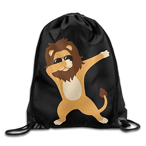 YINREN Dabbing Lion With Sunglasses Drawstring Backpack Bag Beam Mouth Gym Sack Shoulder Bags For Men/Women
