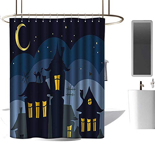 Halloween Old Town with Cat on The Roof Night Sky Moon and Stars Houses Cartoon Art Black Yellow Blue Home Decor Shower Curtain W108 x -