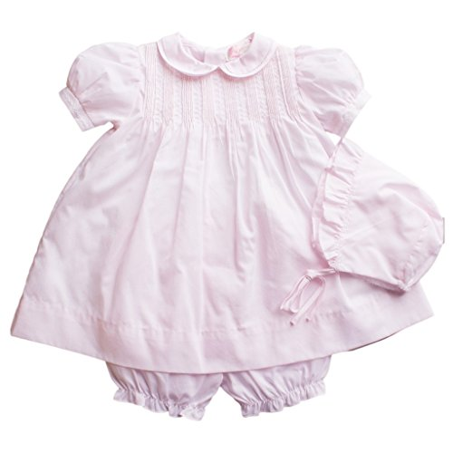 Petit Ami Baby Girls' Dress with Pintucks and Feather Stitching, 3 Months, Pink