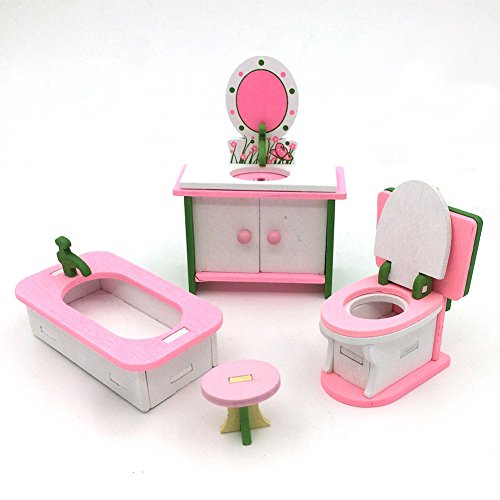 Lanlan 3D Classic Victorian Wooden and Upholstered Dollhouse Living Room Mini Furniture Bathroom