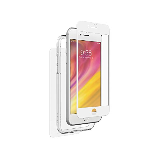 ZAGG InvisibleShield Glass+ 360 - Front + Back Screen Protection with Side Bumpers Made for Apple iPhone 8 - White