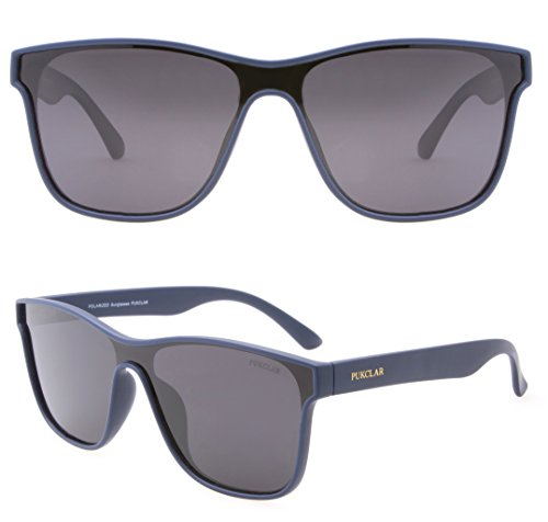 PUKCLAR Classic 80's Vintage Style Wayfarer sunglasses Men Women One piece Lens Polarized Eyeglasses 100% - Polarizedsunglasses