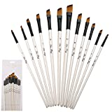 12pcs Craft Art Paint Brushes Nylon for Watercolour, Oil, Gouache and Face Painting White (Oblique)