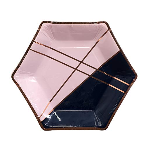 Home Expressions 10 Pack Hexagon Shaped Disposable Paper with Foil Party Plates (Navy/Pink, 9