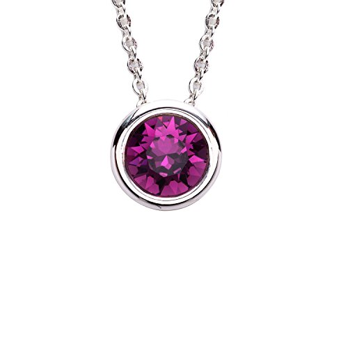 Plated Bezel Set - Collection Bijoux Fine Silver Plated Bezel Set Birthstone Pendant Necklace, Made with Swarovski Crystals, 16