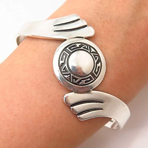 - 925 Sterling Silver Vintage Aztec Shield Design Bypass Cuff Bracelet 6.5