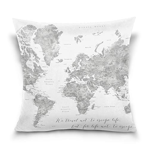 BHUIA We Travel Not to Escape Life Grayscale World Map Throw Pillows Covers Accent Home Sofa Car Cushion Cover Pillowcase Gift Decorative 18X18 inch