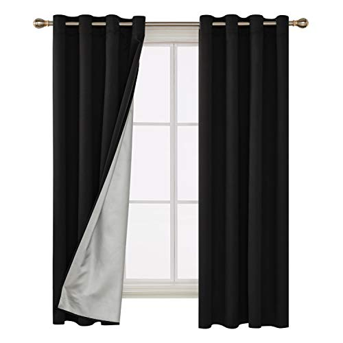 Deconovo Decorative Blackout Curtains Room Darkening Panels Grommet Top Window Drapes with Coated Silver Back for Living Room 52W x 72 L Inch Black 2 Panels ()