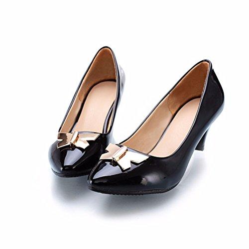 grande metálico de punta zapatos black Embellecedor liso zapatos Y6aqUwUHx