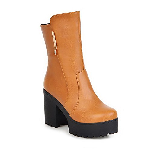 Metal Leather Yellow Boots Style Ornament Preppy AdeeSu Shoes Heel Wheeled Womens Imitated 5wTz7xpq